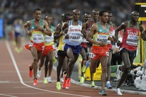 Mo Farah competes under pressure.