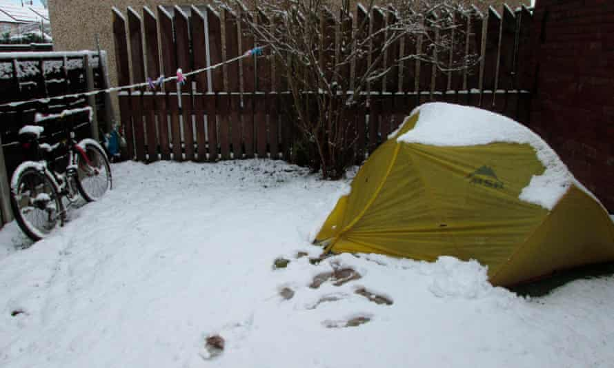 Evan Eames' tent in the Stockport winter