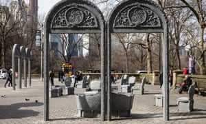 Open House, a New York exhibition by artist Liz Glynn, aims to make 19th century Gilded Age interiors accessible. Glynn wanted to highlight class distinctions in this work, with the public space of the urban park contrasting with Fifth Avenue interior style. The work appears on Central Park's Doris C Freedman Plaza as part of the city's Public Art Fund 40-year anniversary.