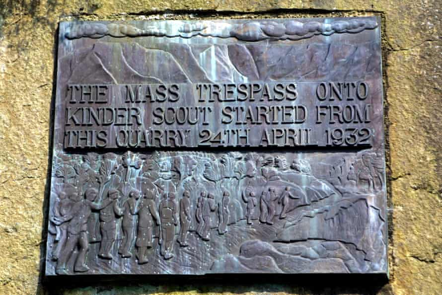 The plaque in the quarry near Hayfield, Derbyshire, where the mass trespass of Kinder Scout began on 24 April 1932.