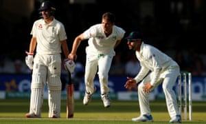 Ireland's Tim Murtagh bowls to England's night watchman Jack Leach as Rory Burns looks on.