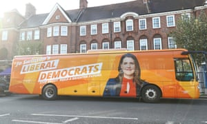 The Liberal Democrat battle bus in Golders Green, North London.