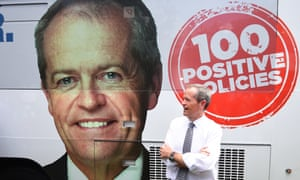 The Labor leader, Bill Shorten, beside the Bill bus in Queensland during the 2016 campaign.