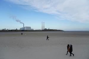 Dublin, Ireland. Physical distancing along Sandymount Strand