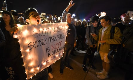Protesters at the Sydney Opera House.