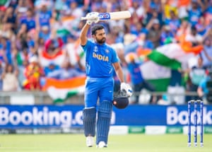 India's Rohit Sharma celebrates his century.