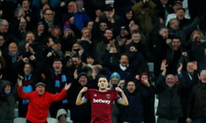 West Ham's Lucas Perez celebrates in front of the happy Hammers fans after he put the home side two goals to the good.