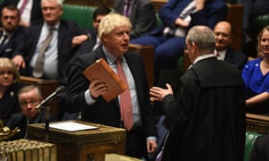 Boris Johnson taking his parliamentary oath.