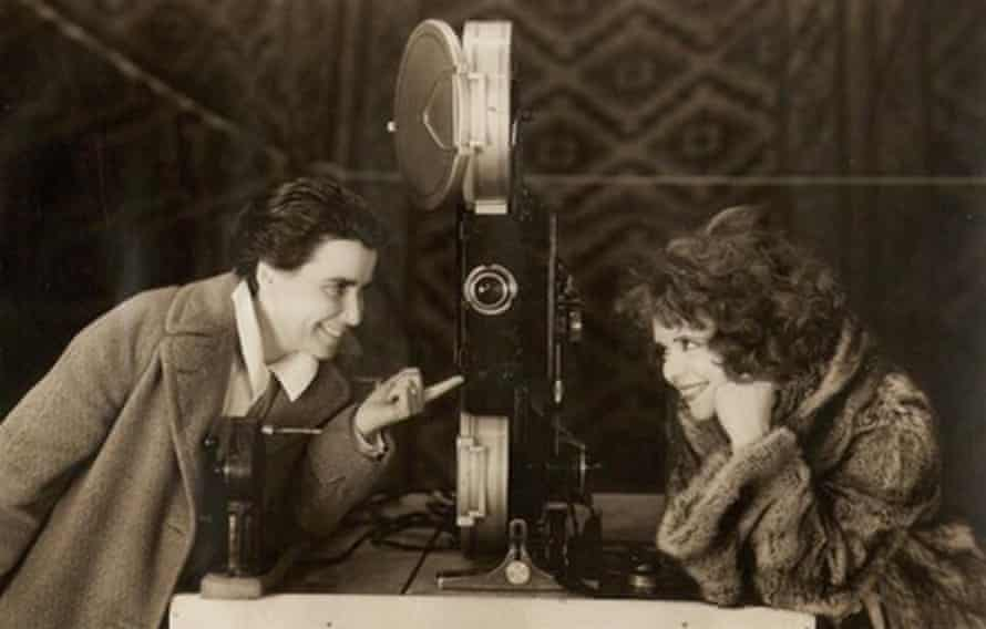Director Dorothy Arzner and Clara Bow on the set of The Wild Party (1929)