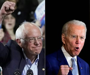 Bernie Sanders and Joe Biden at their Super Tuesday celebrations.
