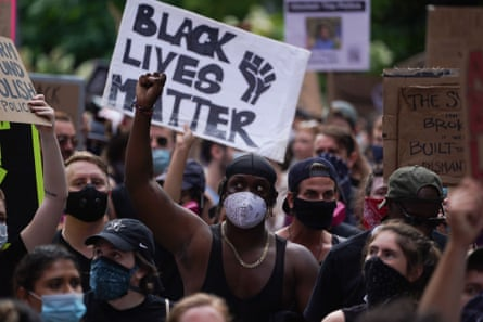 A protest in support of Black Lives Matter in New York in June. Trump seized on the protest by attempting to stoke 'culture war' divisions.