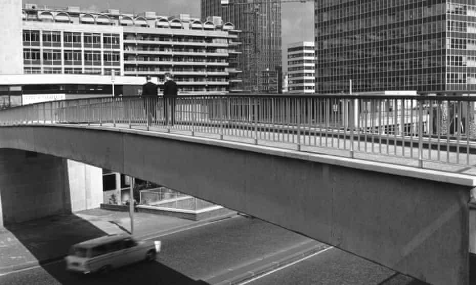 A raised walkway passing near Moor House and St Alphage House, London Wall, City of London.