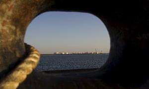 A oil dock east of the Strait of Hormuz