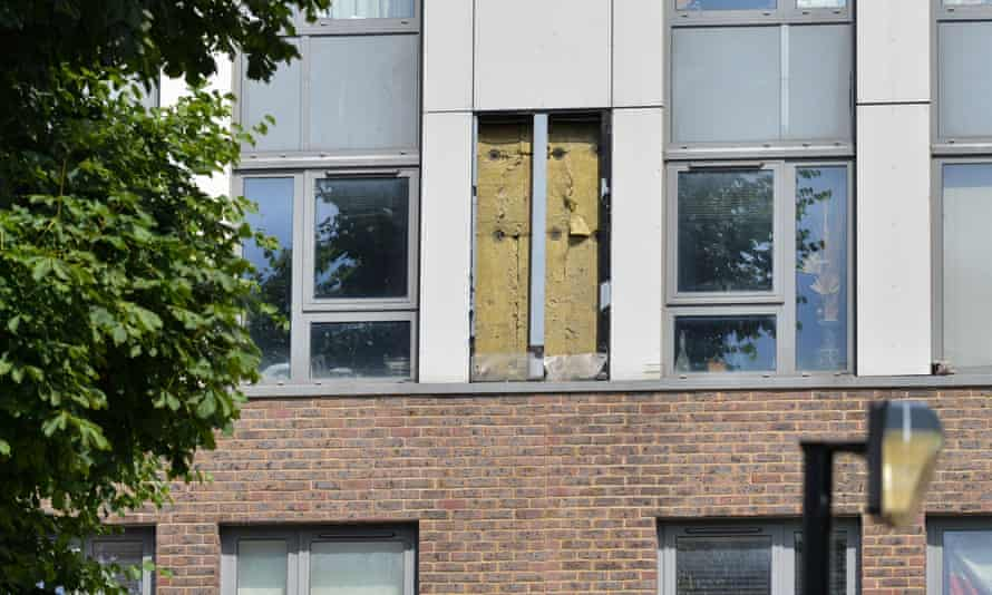 Cladding removed from a tower block in Camden. Other councils plan to strip the material from high-rises.
