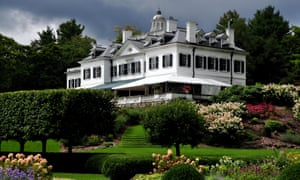 Lenox, Massachusetts: The Mount, home of American author Edith Wharton, seen from the formal French flower garden
