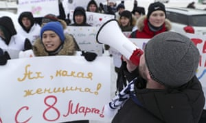 United Russia Young Guard stages march to mark International Women's Day, Novosibirsk, Russia, March 8 2020.