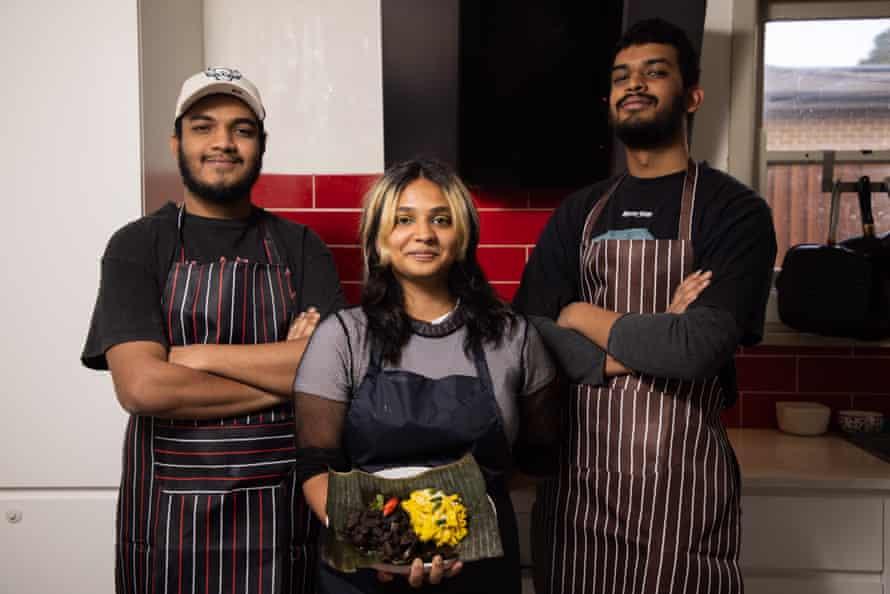 The Curry House team. (Left to Right) Shanilka Suraweera, Kalani Oshadi holding Koss and Mus (black pork curry and yellow jackfruit) and Umanda Suraweera