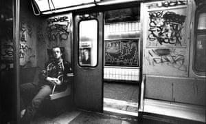 Keith Haring in a subway car in New York, circa 1983.