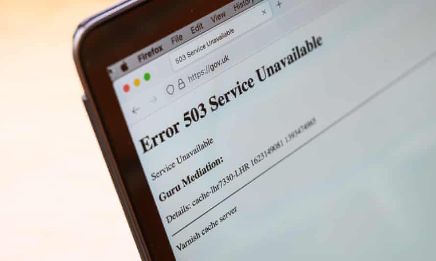 holding page of the Gov.UK website saying Error 503