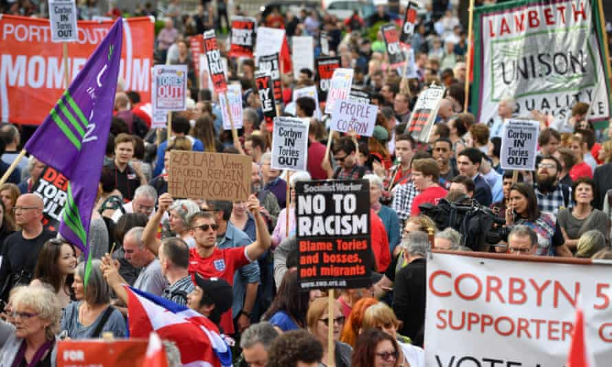 Corbyn supporters outside the Houses of Parliament