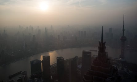 The skyline of Shanghai during a polluted day.