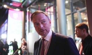 Christian Lindner, FDP party leader, leaves following a TV broadcast on the parliamentary elections in Berlin.