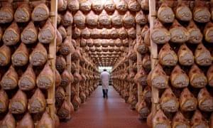 Parma hams hung to dry at a smokehouse in Langhirano, Italy.