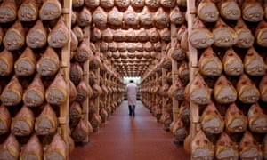 Parma hams drying in Langhirano, Italy