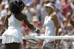 Serena Williams and Elena Vesnina shake hands at the net