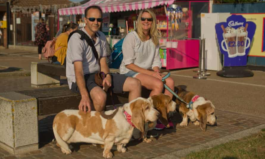 Damon and Sally Cooper with their dogs on Great Yarmouth Promenade.