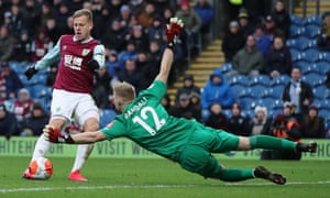 Matej Vydra's fine finish puts Burnley ahead.