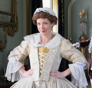 Lucy Worsley in Georgian dress for a BBC programme.