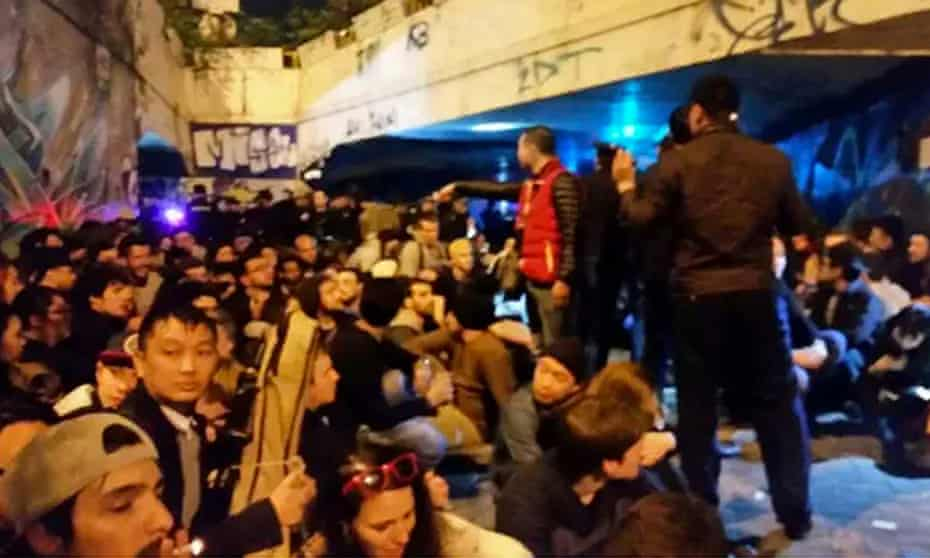 Photo circulated on social media purportedly shows crowd detained in police raid on party in Shenzhen, China.