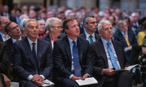 Former prime ministers (from left) Tony Blair, David Cameron and John Major attending the memorial service for Lord Paddy Ashdown at Westminster Abbey.