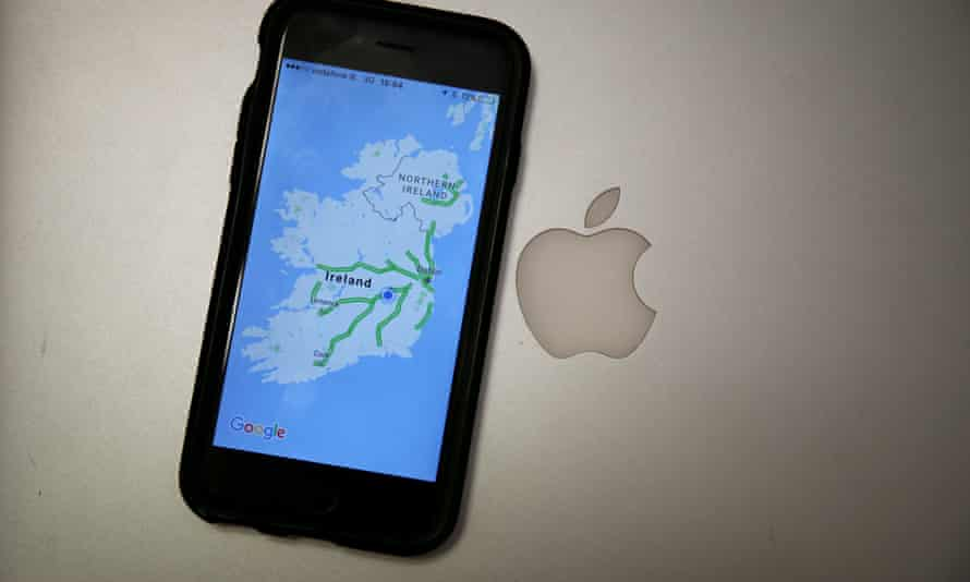 an iPhone displaying a map of Ireland next to the Apple logo