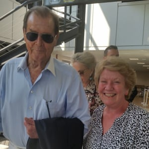 'We bumped into Roger Moore in the waiting room at Nice airport on 9th September last year. He was happy that we recognised him and gladly posed with my wife for this photo.'