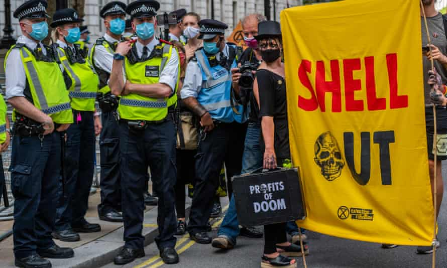 An Extinction Rebellion protest last year focuses on Shell.