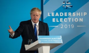 Boris Johnson takes part in a Conservative party hustings event in Nottingham on 6 July.