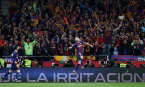 Andrés Iniesta (right) and Lionel Messi celebrate after Iniesta scored Barcelona's fourth goal in what will be his last final for the team before he moves to China.