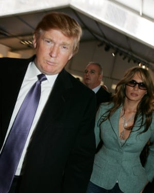 Donald and Melania Trump shortly after their wedding in 2005. Karen McDougal and Stormy Daniels both allege affairs with Trump early in his marriage to Melania.