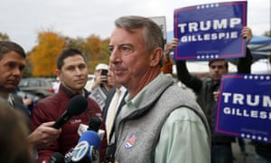 The Republican candidate for Virginia governor, Ed Gillespie, pauses while speaking with reporters after voting at his polling place on Tuesday. He has avoided mentioning Donald Trump's name on the stump.