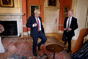 London, UKBoris Johnson and Oliver Downden, the Secretary of State for Digital, Culture, Media and Sport, try out the Caper App as they attend the London Tech Week Showcase inside Downing Stree. The app encourages children to be active
