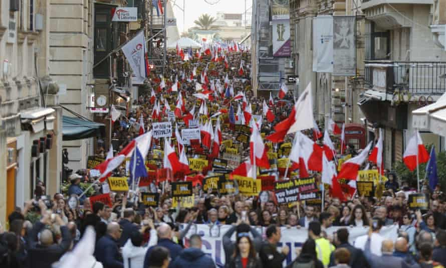 A protest in Valletta on 1 December demanding that Joseph Muscat step down