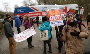 Protesters outside John Smedley Mill in Matlock, Derbyshire, where Boris Johnson is speaking.