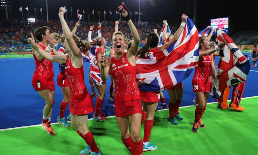 The female GB hockey team celebrate victory over Holland after the gold medal match at the Rio Olympics in 2016.