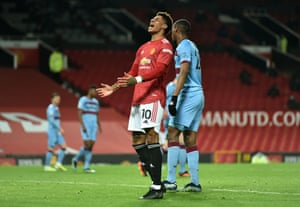 Marcus Rashford of Manchester United reacts after missing a chance.