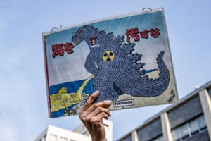 Tokyo. Demonstrators gather outside the Prime Minister's official residence as the government is set to announce its decision on the disposal of treated radiation-contaminated water accumulated at the Fukushima Daiichi Nuclear Power Plant complex
