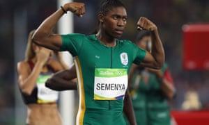 Caster Semenya celebrates her 800m victory at the Rio Olympics