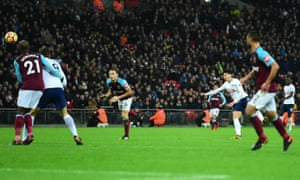 Son Heung-min scores Tottenham's equaliser from distance against West Ham.