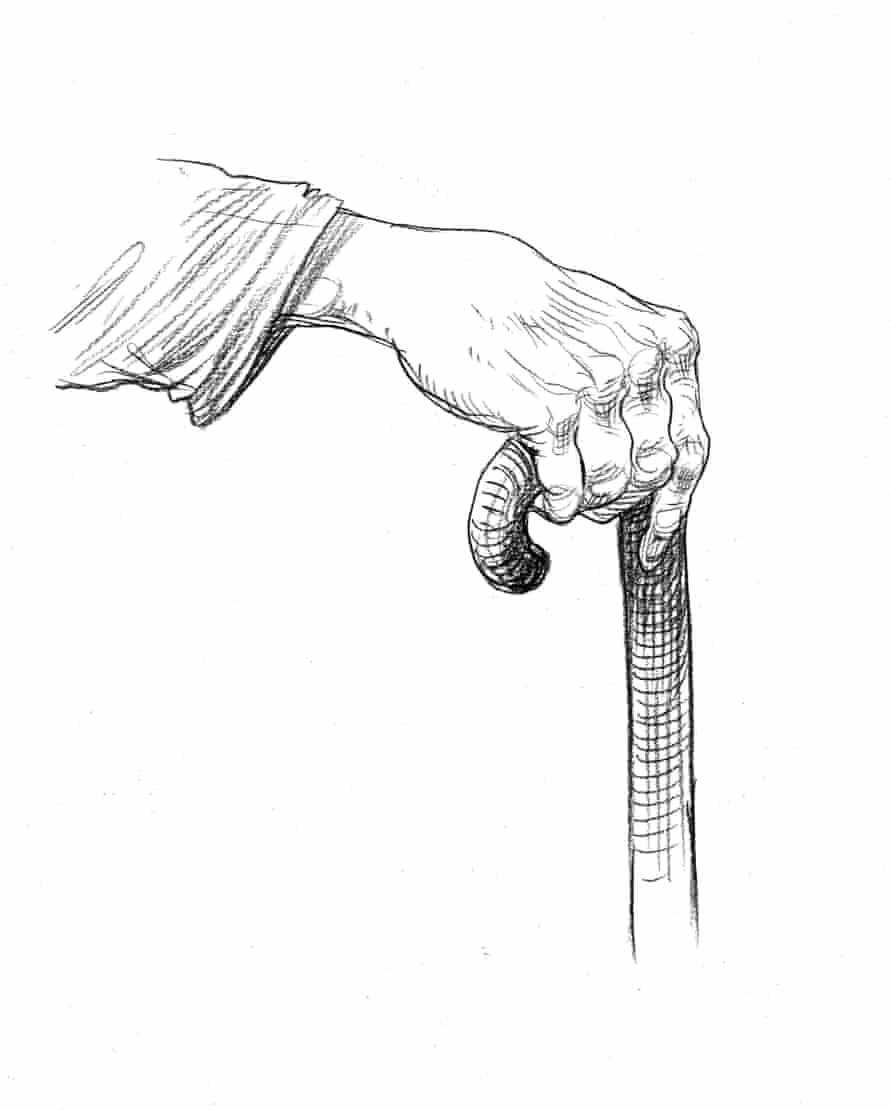 illustration of a hand on a walking stick by chris riddell
